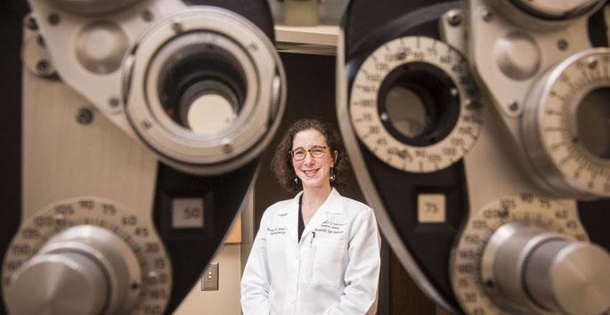 Rachel Sobel, with the Vanderbilt Eye Institute at work in clinic. Photos by: Susan Urmy